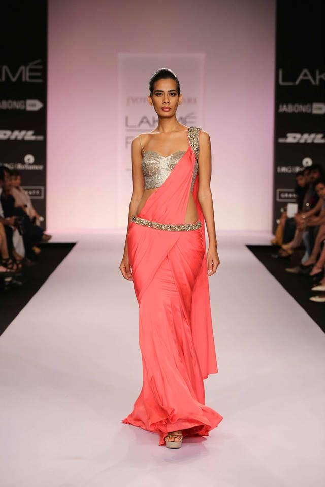Jyotsna Tiwari Lakme Fashion Week Summer 2014 pink sari with gold blouse and belt