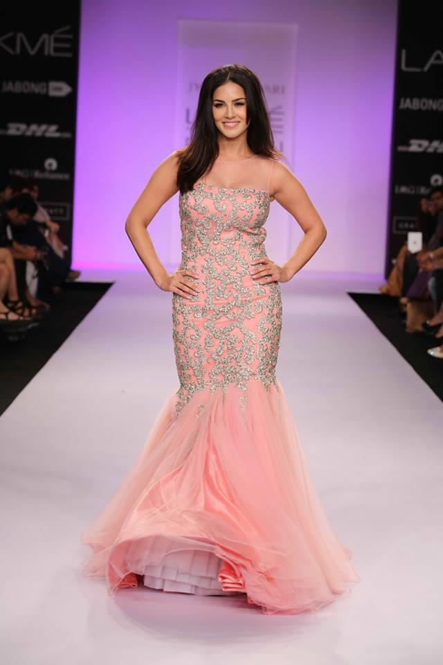 Jyotsna Tiwari Lakme Fashion Week Summer 2014 Sunny Leone mermaid pink Indian dress gown