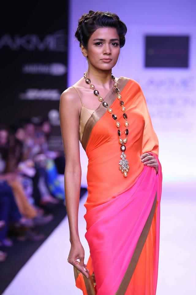 Mandira Bedi Lakme Fashion Week Summer 2014 color blocked pink and orange sari