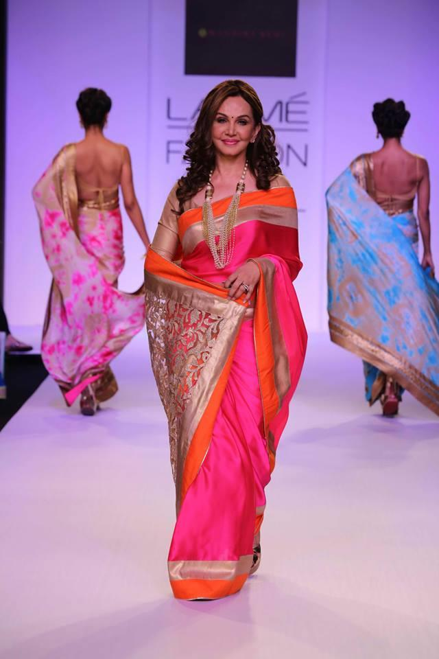 Mandira Bedi Lakme Fashion Week Summer 2014 pink orange gold sari