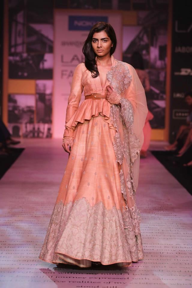 Shantanu & Nikhil Lakme Fashion Week Summer 2014 jacket blouse peach pink lehnga
