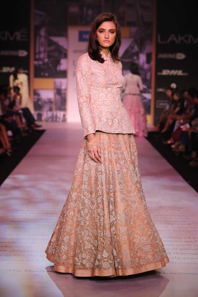 Shantanu & Nikhil Lakme Fashion Week Summer 2014 long blosue floral lehnga