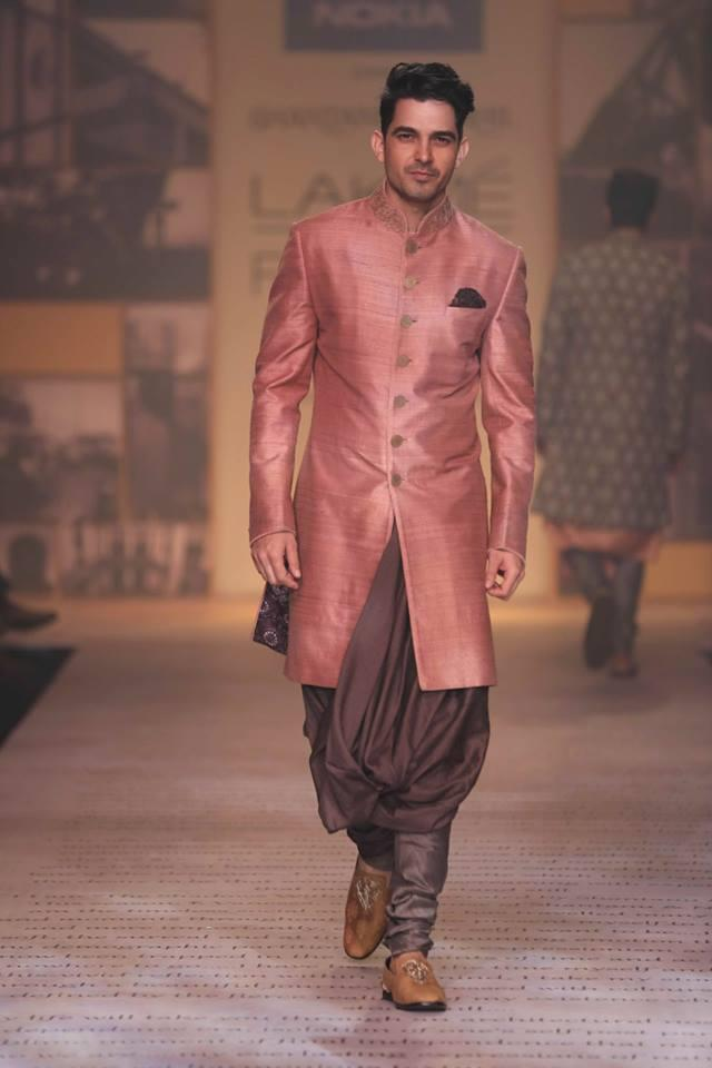 Shantanu & Nikhil Lakme Fashion Week Summer 2014 peach pink brown sherwani