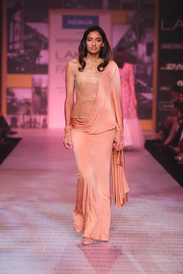Shantanu & Nikhil Lakme Fashion Week Summer 2014 peach sari lehnga