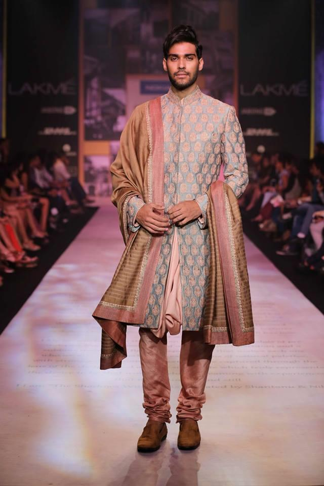 Shantanu & Nikhil Lakme Fashion Week Summer 2014 pink blue shervani