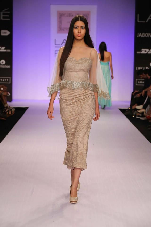 Shehlaa by Shehlaa Khan Lakme Fashion Week Summer 2014 beige dress with dupatta