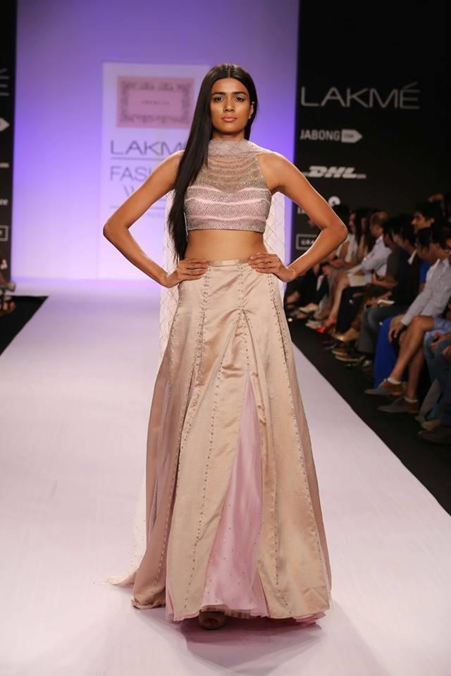 Shehlaa by Shehlaa Khan Lakme Fashion Week Summer 2014 beige pink lehnga