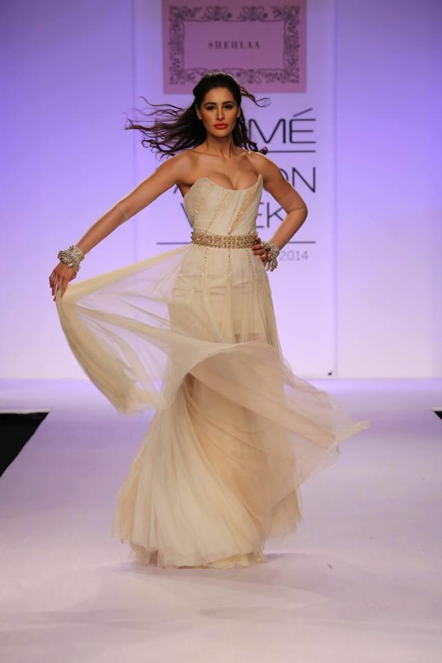 Shehlaa by Shehlaa Khan Lakme Fashion Week Summer 2014 Nargis Fakhri grecian gown