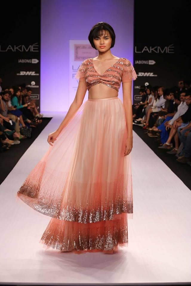 Shehlaa by Shehlaa Khan Lakme Fashion Week Summer 2014 pink orange coral lehnga