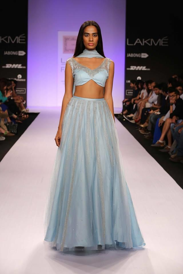 Shehlaa by Shehlaa Khan Lakme Fashion Week Summer 2014 powder baby blue lehgna