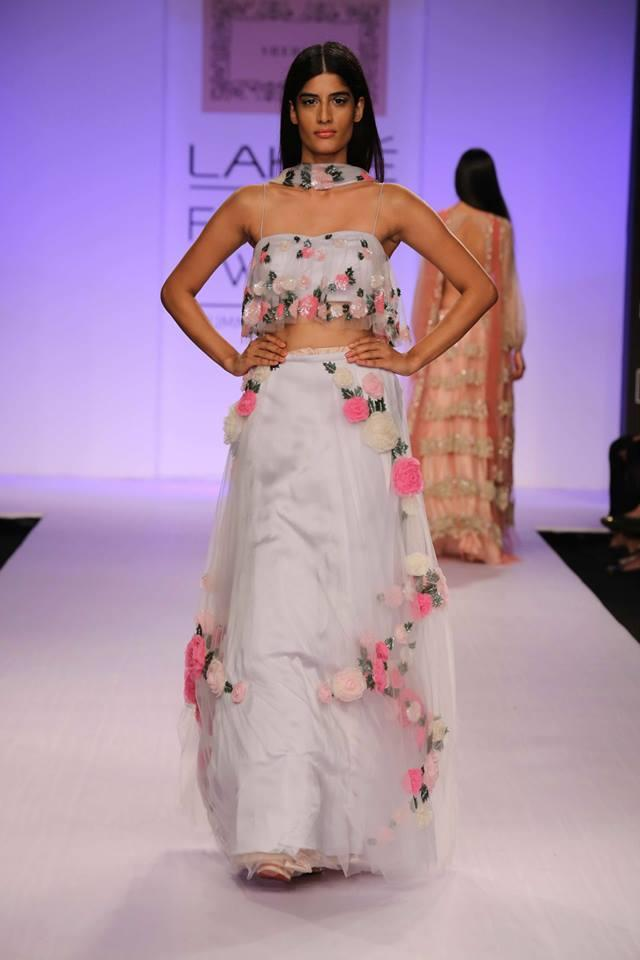 Shehlaa by Shehlaa Khan Lakme Fashion Week Summer 2014 white lehnga with pink flowers