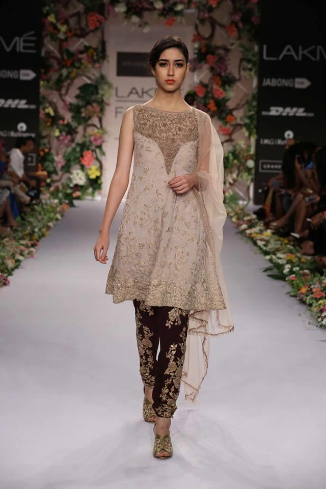 Shyamal & Bhumika Lakme Fashion Week Summer Resort 2014 black and beige short kameez churidar suit