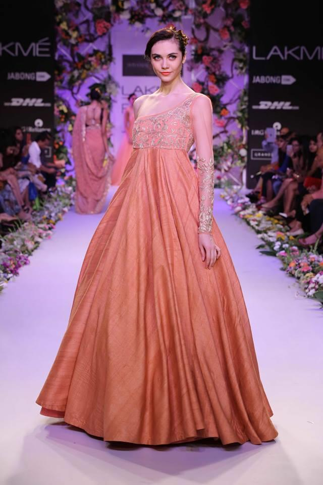 Shyamal & Bhumika Lakme Fashion Week Summer Resort 2014 coral peach one shoulder dress