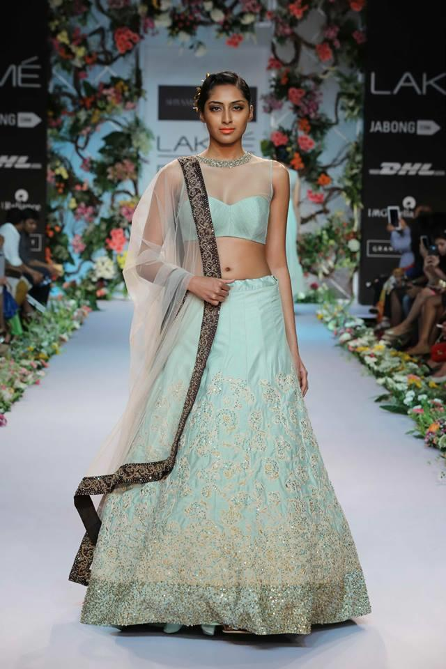 Shyamal & Bhumika Lakme Fashion Week Summer Resort 2014 Indian wedding baby blue green lehnga
