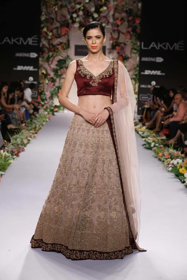 Shyamal & Bhumika Lakme Fashion Week Summer Resort 2014 Indian wedding bridal marroon beige lehnga