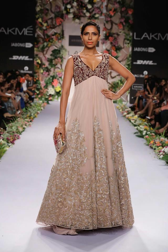 Shyamal & Bhumika Lakme Fashion Week Summer Resort 2014 Indian wedding marroon dress