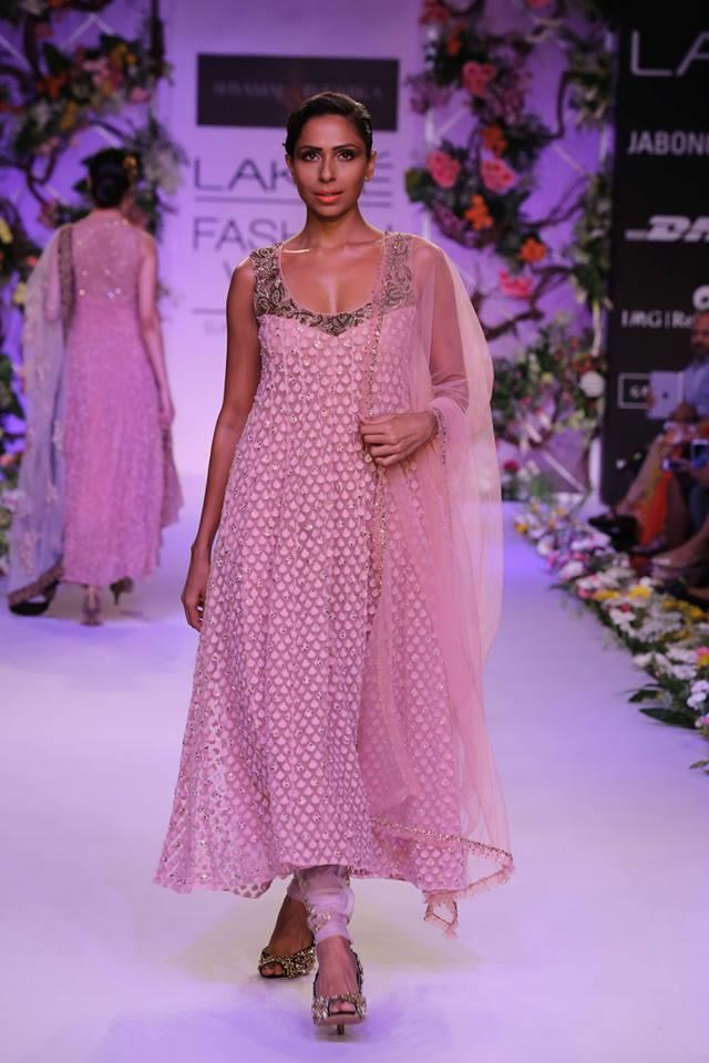 Shyamal & Bhumika Lakme Fashion Week Summer Resort 2014 Indian wedding pink churidar suit
