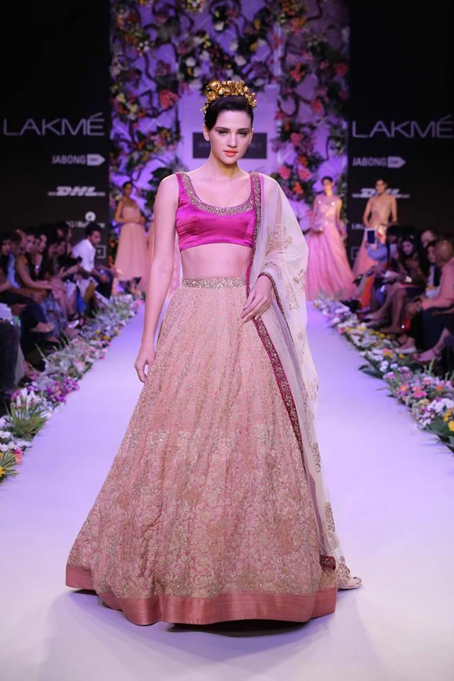 Shyamal & Bhumika Lakme Fashion Week Summer Resort 2014 Indian wedding princess pink lehnga