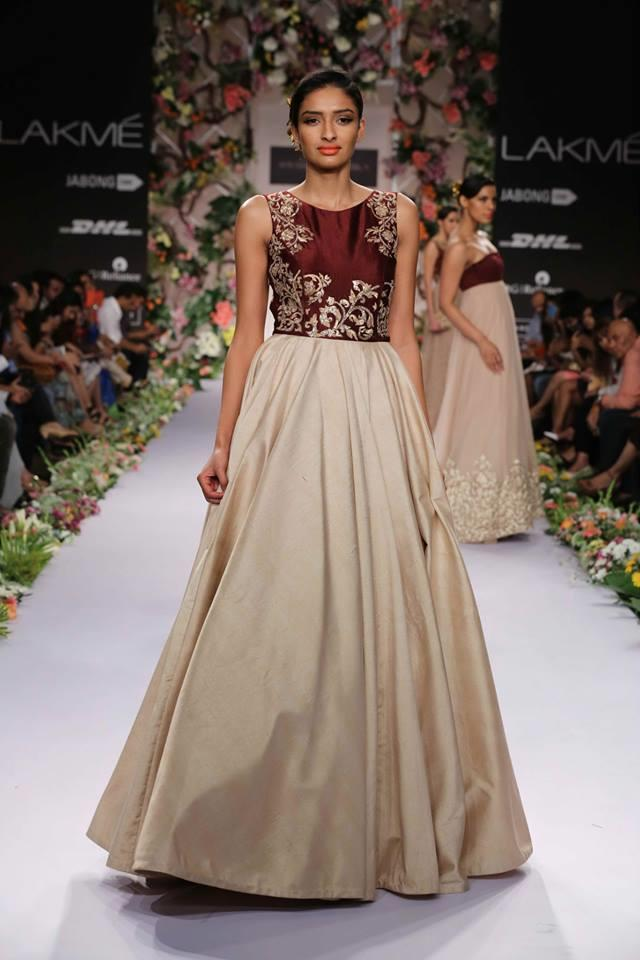 Shyamal & Bhumika Lakme Fashion Week Summer Resort 2014 maroon and beige Indian wedding dress