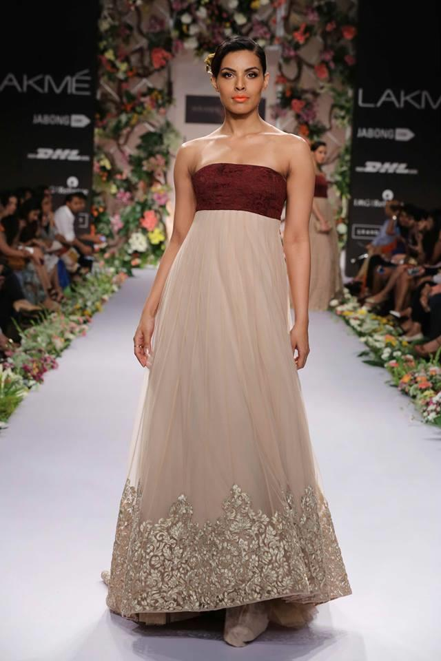 Shyamal & Bhumika Lakme Fashion Week Summer Resort 2014 maroon brown strapless Indian wedding fusion dress