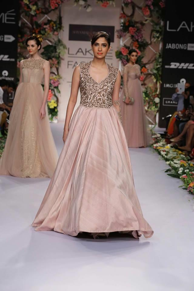 Shyamal & Bhumika Lakme Fashion Week Summer Resort 2014 peach ivory lehnga dress