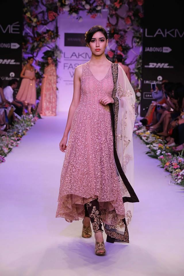 Shyamal & Bhumika Lakme Fashion Week Summer Resort 2014 pink indian wedding churidar suit