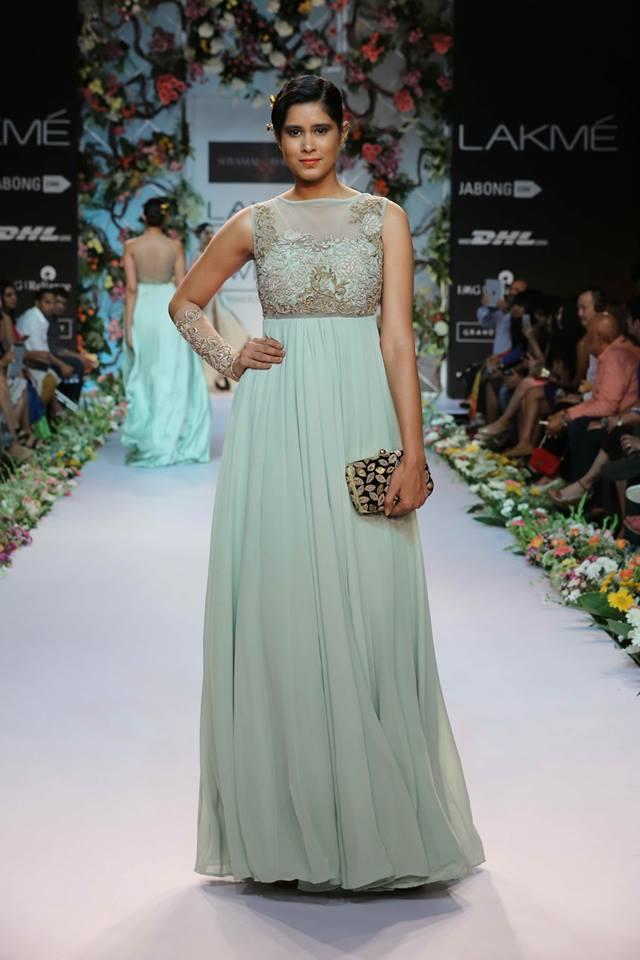 Shyamal-Bhumika-Lakme-Fashion-Week-Summer-Resort-2014-sea-green-blue-Indian-fusion-wedding-dress