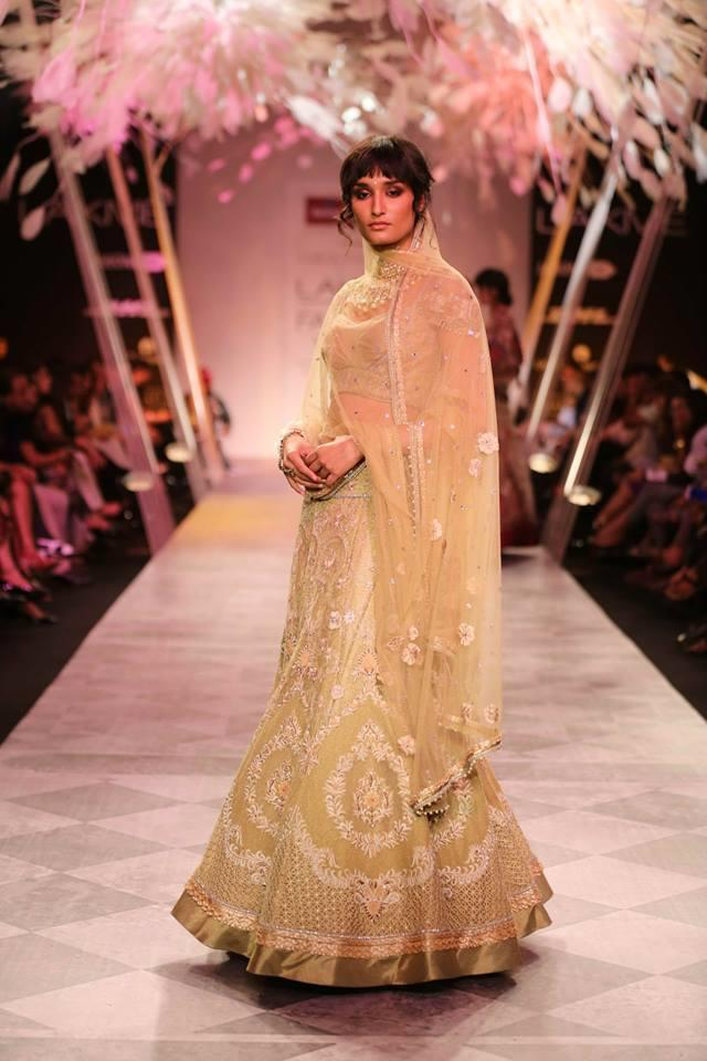 Tarun Tahiliani Lakme Fashion Week Summer Resort 2014 gold Indian bridal lehnga