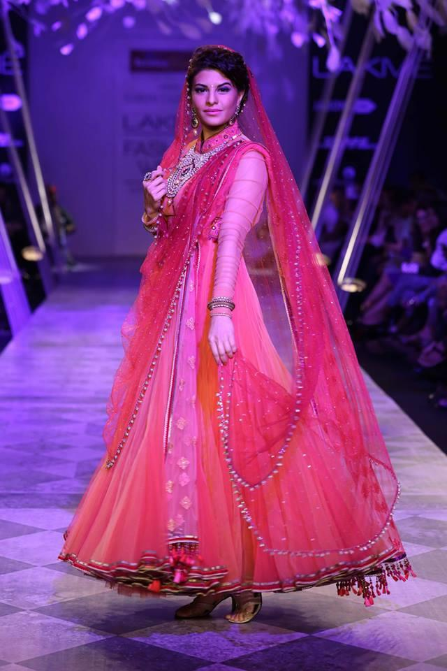 Tarun Tahiliani Lakme Fashion Week Summer Resort 2014 Jaqueline Fernandez in Indian bridal pink suit