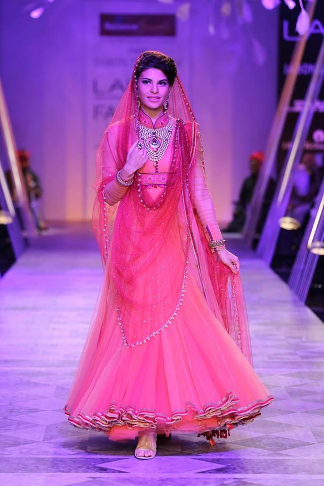 Tarun Tahiliani Lakme Fashion Week Summer Resort 2014 Jaqueline Fernandez in red bridal anarkali suit
