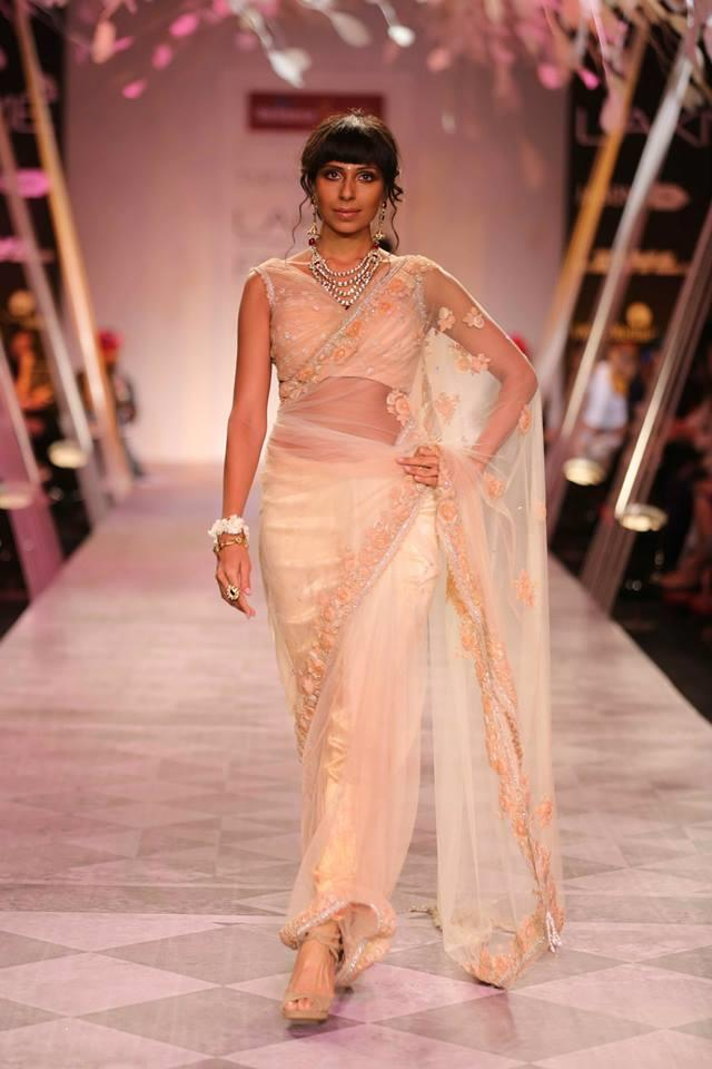 Tarun Tahiliani Lakme Fashion Week Summer Resort 2014 peach and cream Indian bridal sari