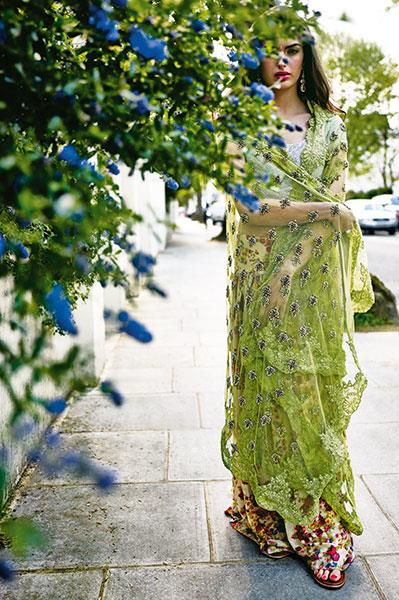 monisha jaising green bridal sari