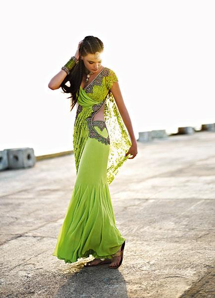 Monisha Jaising green sari