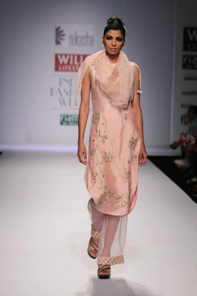 Nikasha Wills Lifestyle India Fashion Week 2014 blush pink salwar kameez with see through pants