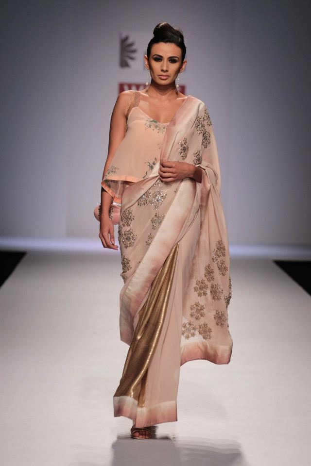 Nikasha Wills Lifestyle India Fashion Week 2014 blush pink sari flowy blouse