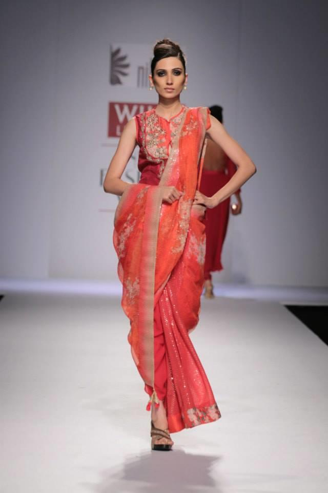 Nikasha Wills Lifestyle India Fashion Week 2014 pink red sari