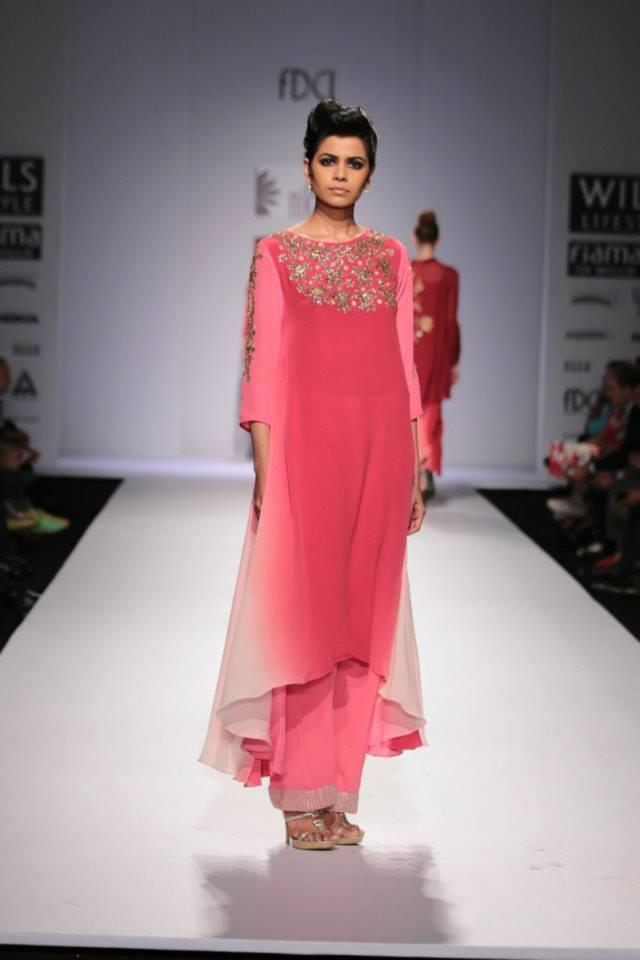 Nikasha Wills Lifestyle India Fashion Week 2014 pink red suit with wide leg pants