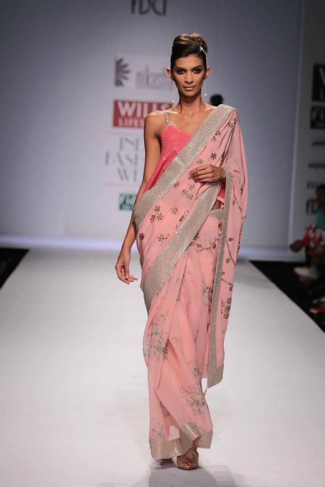 Nikasha Wills Lifestyle India Fashion Week 2014 pink sari