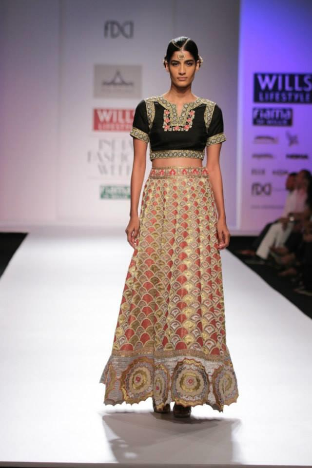 Pia Pauro Wills Lifestyle India Fashion Week pink and black lehnga