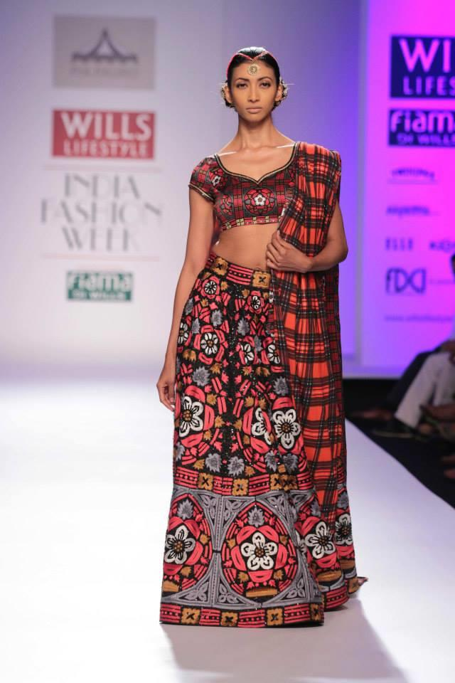 Pia Pauro Wills Lifestyle India Fashion Week red Scottish Indian influenced lehenga