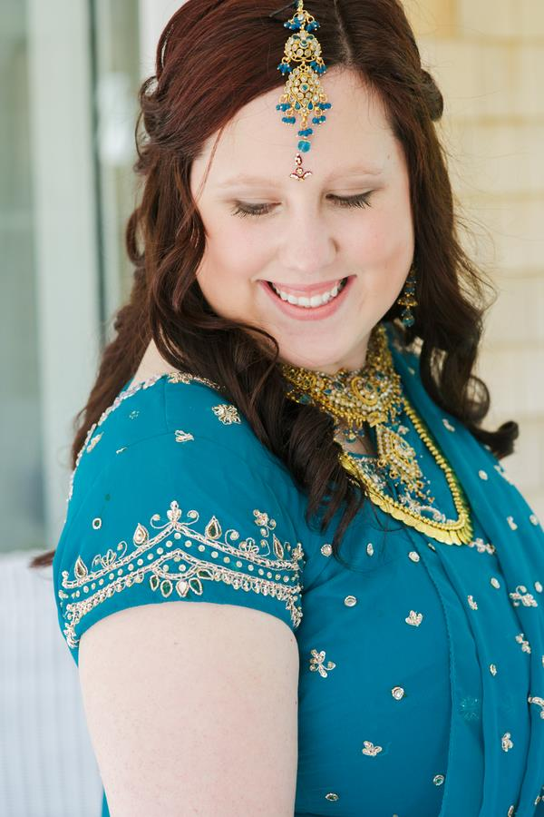 7a indian wedding blue lengha and jewelry