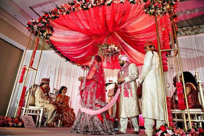 indian-wedding-hindu-ceremony-pink-floral-mandap