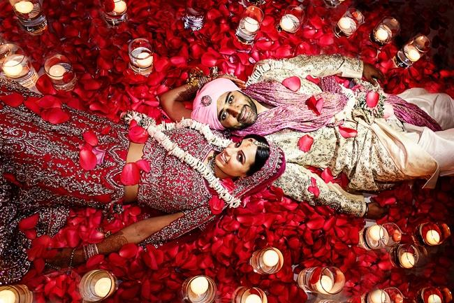 indian-wedding-rose-petal-bride-and-groom-portrait