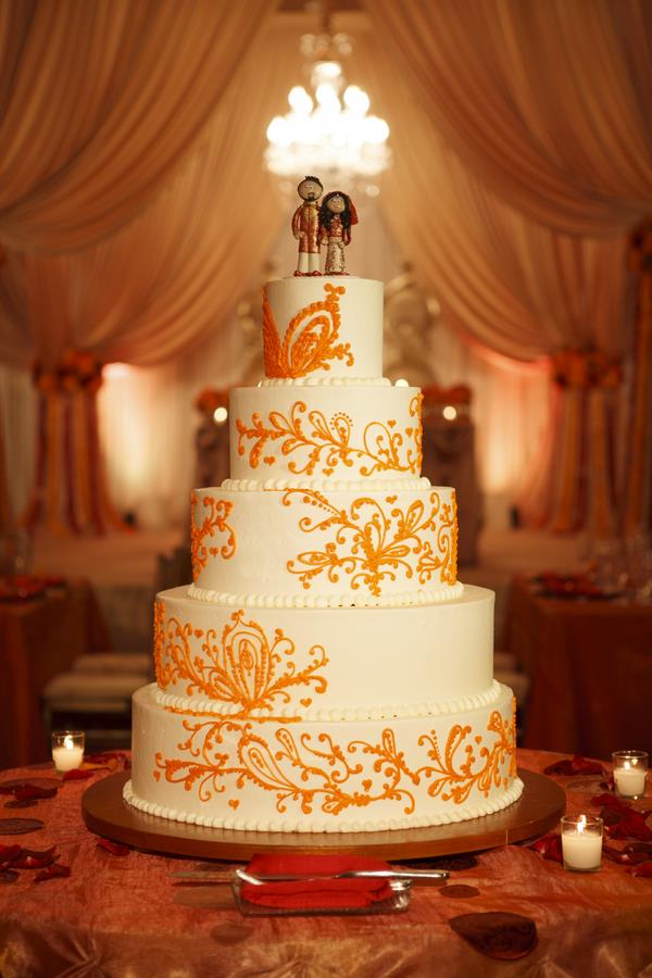 64a- orange and white wedding cake