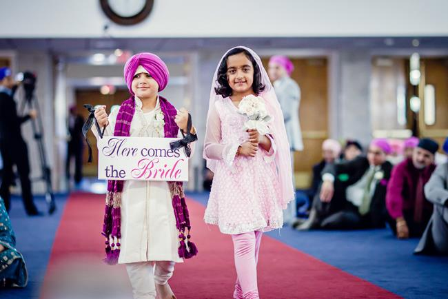 Here Comes the Bride Indian wedding ceremony sign with kids