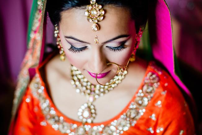 Indian bridal makeup closeup shot