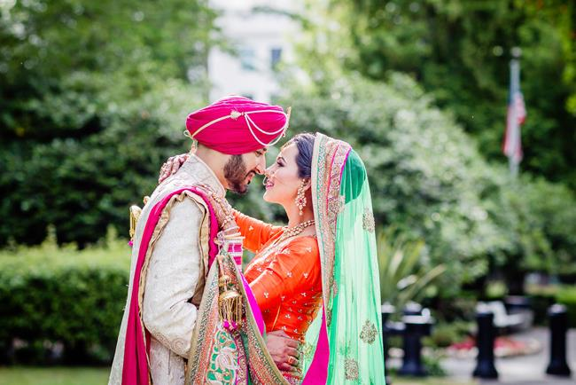 Indian bride and groom outdoor portrait