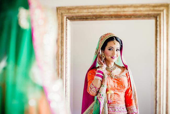 Punjabi bride portrait in mirror_650