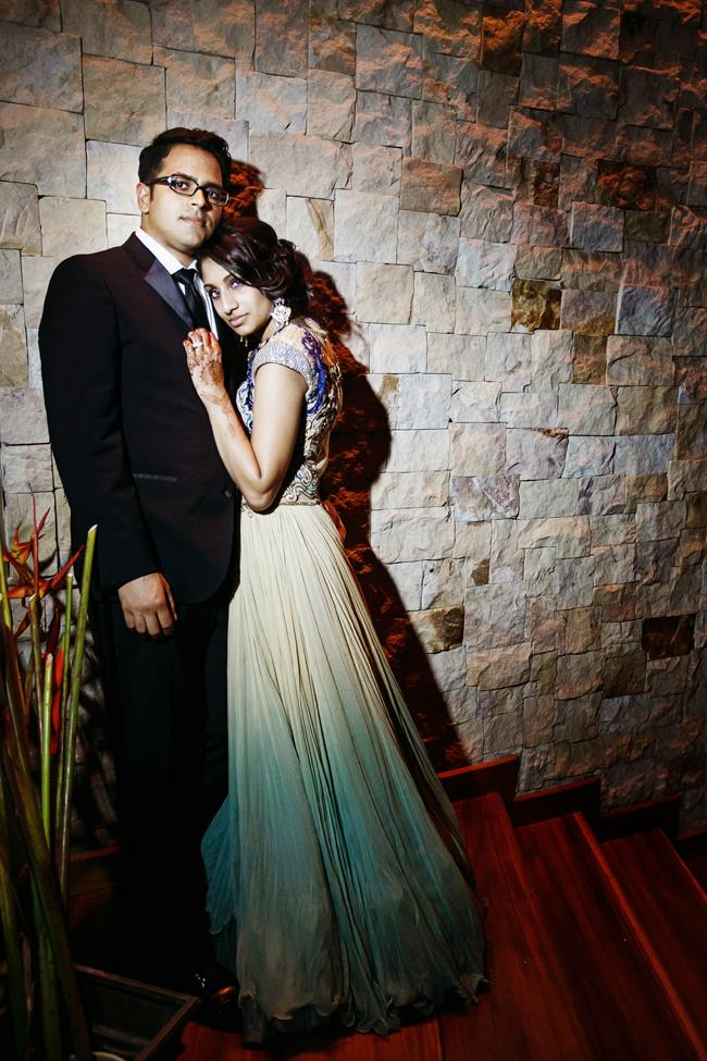 79a indian wedding bride and groom tulle lengha