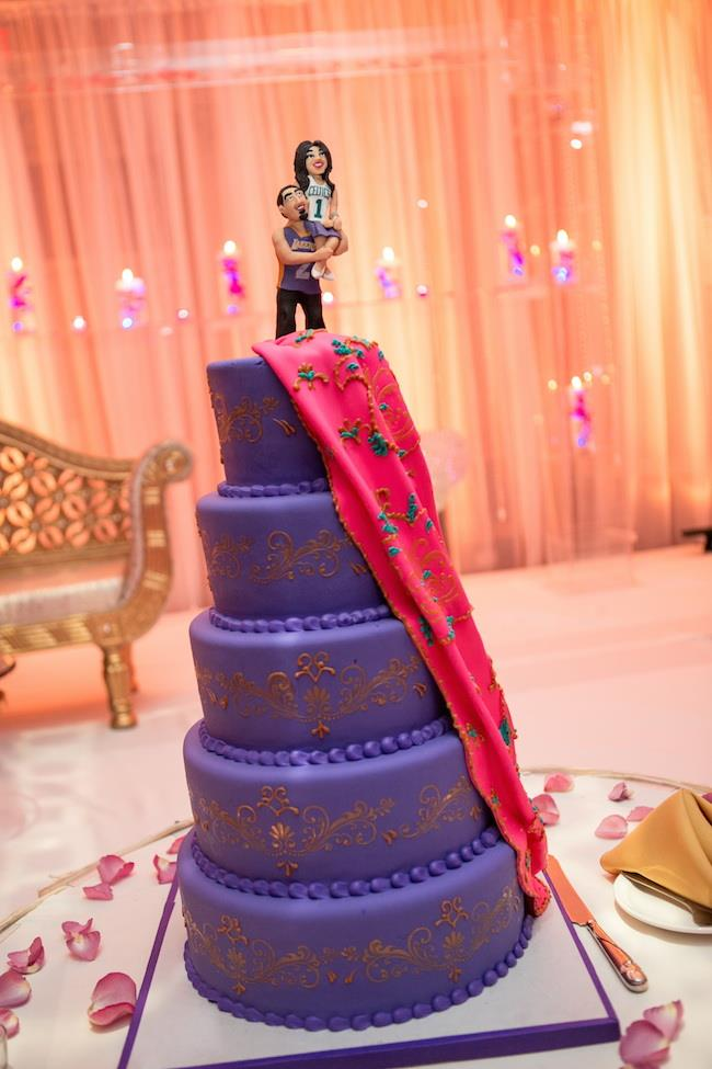 59a indian wedding purple cake